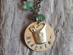 Stamped Brass Beachin' Necklace by BordersBeachShop on Etsy