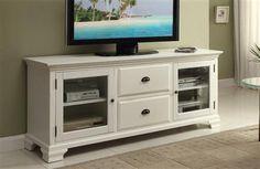 Kaila Cream Wood Glass TV Stand