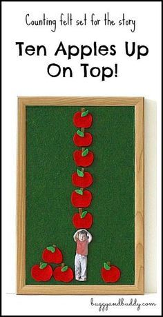 Math for Kids: Personalized counting apple felt / flannel board set inspired by Ten Apples Up on Top! ~ http://BuggyandBuddy.com via /cmarashian/