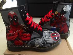 Painted these for myself! Wore them to PAX this year, many blisters were had. Next time I should break them in first Deadpool Doc Martens Doc Martens Outfit, Doc Martens Boots, Docs Shoes, Shoe Boots, White Doc Martens, Sneaker Art, Cute Heels, Shoe Company, Unique Shoes