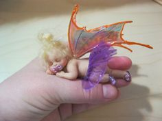 OOAK Polymer Clay Baby Girl Fairy Art Doll Purple Skirt NR Fae Fantasy | eBay