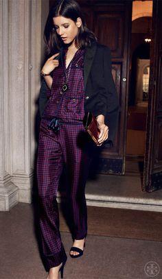 Silk pajamas... so chic! | Tory Burch Holiday Lookbook