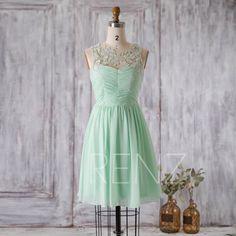 2016 Mint Chiffon Bridesmaid dress, Illusion Lace neck Short Wedding dress, A line Party dress, Formal dress, Prom dress knee length (F007A)