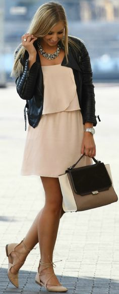 Black Biker On Nude Little Dress Fall Inspo by Style and Blog