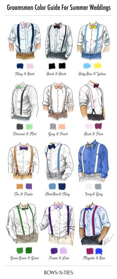 Groomsmen color guide for summer weddings. How to pair suspenders and bow ties.