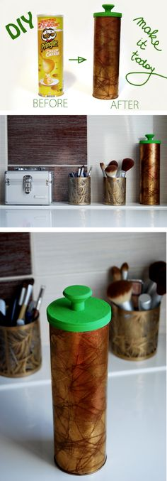 Great DIY: Reuse Pringles container Link here: http://teasfashion.blogspot.com/2013/02/craft-diy.html
