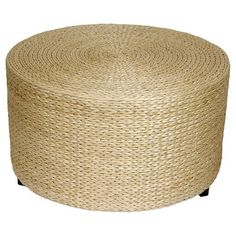 """Rush Grass Footstool for Ikea chair [and bedding storage] Natural 16.5"""" high, 30"""" diameter. $90."""