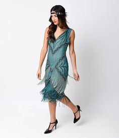 1920s Style Teal Beaded Remarque Fringe Chiffon Flapper Dress $248.00 AT vintagedancer.com