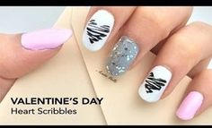 Valentine's Day nail art: Heart Scribbles