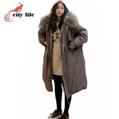 e5c847aca7290 vancol 2017 Korean fashion plus size Long Solid cotton down parka women  hooded heavy fur collar coat long womens winter jackets