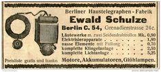 Original-Werbung/ Anzeige 1905 - BERLINER HAUSTELEGRAPHEN - FABRIK SCHULZE BERLIN - ca. 100 x 45 mm