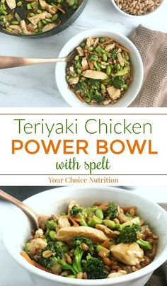 Power up your afternoon with this Teriyaki Chicken Power Bowl! With the whole grain spelt as the base and topped with sautéed chicken and vegetables coated in teriyaki sauce, it is the perfect balance of sweet and savory. | recipe via www.yourchoicenutrition.com  #yourchoicenutrition #food #recipe #healthyeating #healthylifestyle #dietitian #dietitianapproved #healthyrecipes #mindfuleating #dinner #intuitiveeating #ancientgrain #spelt #powerbowl #buddhabowl #lunch #mealprep #wholegrain…