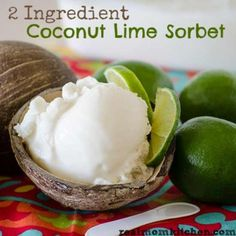 #Coconut #Lime #Sorbet~refreshingly #yum! love the flavor of coconut & the flavor of lime. However, coconut and lime together is a well made match and there is only 2 ingredients needed to made this simple coconut lime sorbet. I have recently fell in love with sorbet. It is less calories than ice cream and full of fruity flavor. I love the creaminess that you get when using coconut in sorbet!
