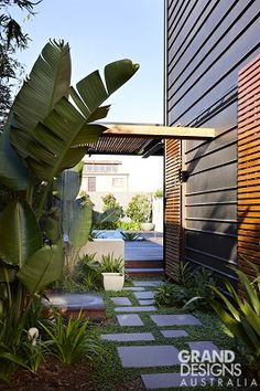 Read more on Grand Designs Australia: Series 1 · Episode 4 Zinc Cladding, Exterior Cladding, Contemporary Landscape, Landscape Design, Garden Design, Bluestone Paving, Grand Designs Australia, Best Exterior Paint, Garden Spaces