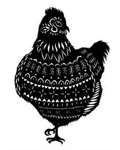 Henny  Cut Paper Art Print by ruralpearl on Etsy, $20.00
