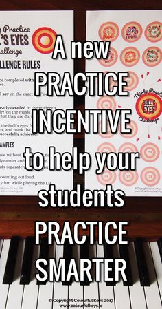 Brand new FREE resource for piano teachers to improve their students practice quality. http://colourfulkeys.ie/help-your-students-find-practice-focus-with-the-30-bulls-eyes-challenge/