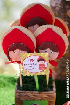 Cute cookies at a Little Red Riding Hood birthday party! See more party planning ideas at CatchMyParty.com!
