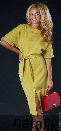 Solid half sleeve midi X-line dress, gorgeous dress, women's wear, preorder. Simple Dresses, Day Dresses, Casual Dresses, Dresses For Work, Summer Dresses, Office Dresses, Mode Outfits, Chic Outfits, Dress Outfits