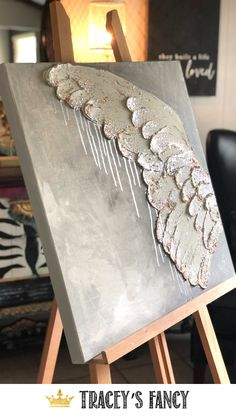 I could totally DIY these glittered, metallic angel wings!! Original Canvas Art by Tracey Bellion of Traceysfancy.com | Online Class to learn how to make your own drippy metallic and textured angel wings art | DIY Art Class | Angel Wings Decor | Angel Wings Wall Decor | Girls Craft Night in Ideas | Whimsical Art #angelwings #handmade DIY Christmas Gift Ideas | Christmas Wall Art n| Handmade Gifts | Painted Art | Painting |