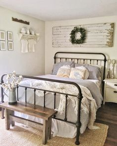 I don't want to leave my bedroom today #farmhouse #white #whitefarmhouse #ticking #ironstone #chippywhite #farmhousestyle #farmhousedecor #bedroom