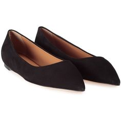 Lerre  Suede Pointed Ballet Flat ($245) ❤ liked on Polyvore featuring shoes, flats, nero, black skimmer, black pointed flats, suede flats, black pointy flats and pointy-toe flats