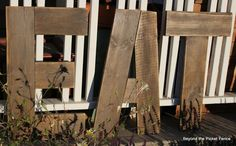 DIY large letters out of old pallet wod Beyond The Picket Fence: EAT