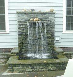 Needs greenery to hide the siding Outdoor Water Features, Pool Water Features, Water Features In The Garden, Wall Fountains, Garden Fountains, Ponds Backyard, Backyard Landscaping, Pond Ideas, Garden Ideas