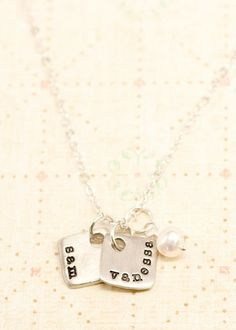 """tiny squares 16"""" ball chain with all three boys names"""