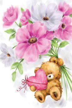 Canvas Artwork, Canvas Art Prints, Teddy Bear Pictures, Cute Teddy Bears, Tatty Teddy, Happy Birthday Greetings, Bear Art, Cute Cartoon, Cute Drawings