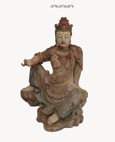 """Chinese Antique Wooden Carving Sitting Peaceful KwanYin Statue WK2485    This is a Chinese antique wooden KwanYin statue which is made of solid elm wood.  Look at the peaceful face and sitting on lotus position, it is perfect to put at your entrance of hall way.  Especially, her right hand is removable.  Outside Dimensions: 19""""Wx10""""Dx30""""H  Origin: Northern China  Material: Solid Elm Wood"""