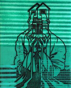 Reuben Kambeitz - HOME FLAG IV, 2015 Acrylic & Archival Ink Linocut on Paper Epoxy Overcoat 10˝ × 8˝