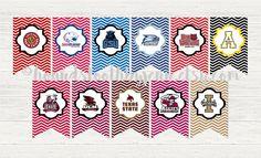 Sun Belt Team logo Printables! School digital banner pennants with chevron zigzag background by HoundstoothbyJenn on Etsy https://www.etsy.com/listing/463253128/sun-belt-team-logo-printables-school