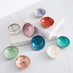 Each piece in Louisa Podlich's collection starts as a tiny ball of clay and is shaped and decorated by hand, a mano. The A MANO Ceramic Trinket Dish comes in a an array of fun colors and prints and is the perfect spot for your keys, jewel Clay Pot Crafts, Polymer Clay Crafts, Diy Clay, Glass Shadow Box, Sculpey Clay, Jewelry Dish, Pinch Pots, Ceramic Pottery, Slab Pottery