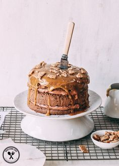Chocolate Layer Cake with Salted Caramel and Sesame Snaps - http://wholesome-cook.com/2015/03/04/chocolate-layer-cake-with-salted-caramel-and-sesame-snaps/