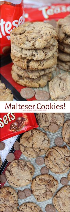 Gooey, Crunchy and Delicious Malteser Cookies with Malteser Buttons and Maltesers! Cookie Flavors, Delicious Cookie Recipes, Yummy Treats, Sweet Recipes, Baking Recipes, Sweet Treats, Dessert Recipes, Yummy Food, Desserts
