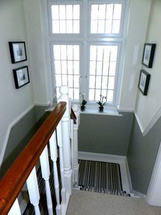 half height dado rail, dual colour walls on staircase