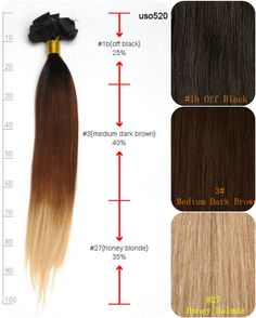 20inches Three-tone Ombre Straight Extensions Hair for Party Hairstyles