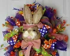 Deco paper mesh Easter bunny wreath with hydrangeas and