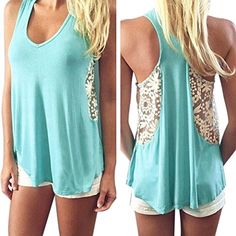 BinmerTMWomen Sexy Summer Lace Vest T Shirt Casual Blouse Tank Tops XL >>> Continue to the product at the image link.Note:It is affiliate link to Amazon. #l4l