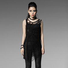PUNK RAVE T-318 blouses black spider web Tee sleeveless clothing