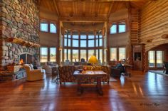 Wow... I know this looks like a mansion of a log home but, wow... That is amazing.