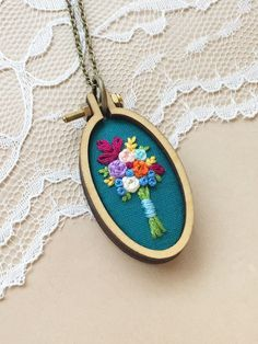 Rustic Wood Pendant, Embroidered Necklace, Mini Embroidery Hoop Necklace, Mini Hoop Necklace, Wildflower Bouquet, Wood Anniversary, Oval by PlaidLoveThreads on Etsy