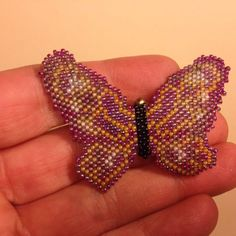 Vintage Seed Bead BUTTERFLY BROOCH Pin Gold Tone Costume Jewelry SALE