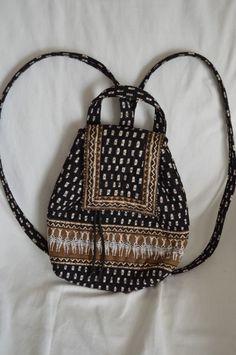 64bca8a144fe Details about Vera Bradley Zebra Printed Backpack Bag Drawstring Retired  Black Brown Tribal