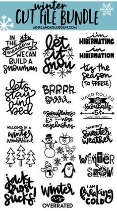 Winter Cut file Mini bundle - Winter Cut file Mini bundle – A Girl And A Glue Gun - Crafts For Teens To Make, Winter Crafts For Kids, Diy And Crafts, Spring Crafts, Party Crafts, Tree Crafts, Food Crafts, Cricut Christmas Ideas, Christmas Svg