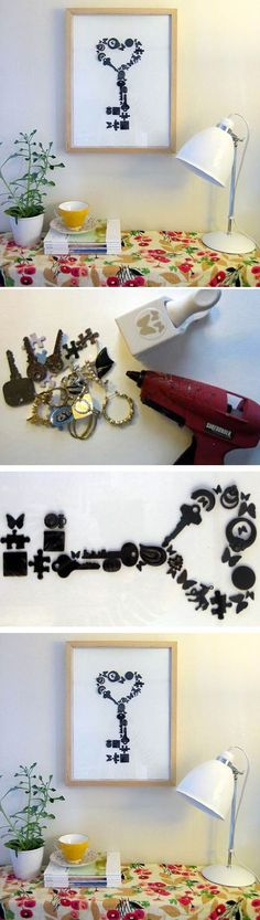 Easy And Beautiful Key Craft - this would look great with an assortment of laser cut shapes, painted and grouped to form this key shape or even initials.