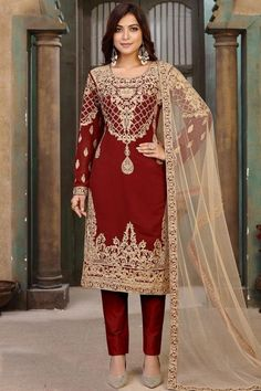 Get gorgeous in this red georgette trouser suit which will make your look very subtle yet edgy. This round neck and full sleeve costume accentuated with thread work. Present with santoon cigarette pants in red color with oat beige net dupatta. Cigarette pants and dupatta are plain. #trousersuit #salwarkameez #usa #Indianwear #Indiandresses #andaazfashion Straight Cut Pants, Différents Styles, Pantalon Cigarette, Trouser Suits, How To Dye Fabric, Jacket Style, Indian Dresses, Black Fabric, Indian Wear