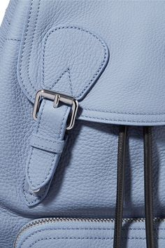 Burberry - Medium Chain-trimmed Textured-leather Backpack - Light blue - one size