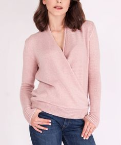 Take a look at this Pastel Pink Wrap Sweater today!