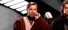 Obi Wan Kenobi playing with his mustache and being sexy